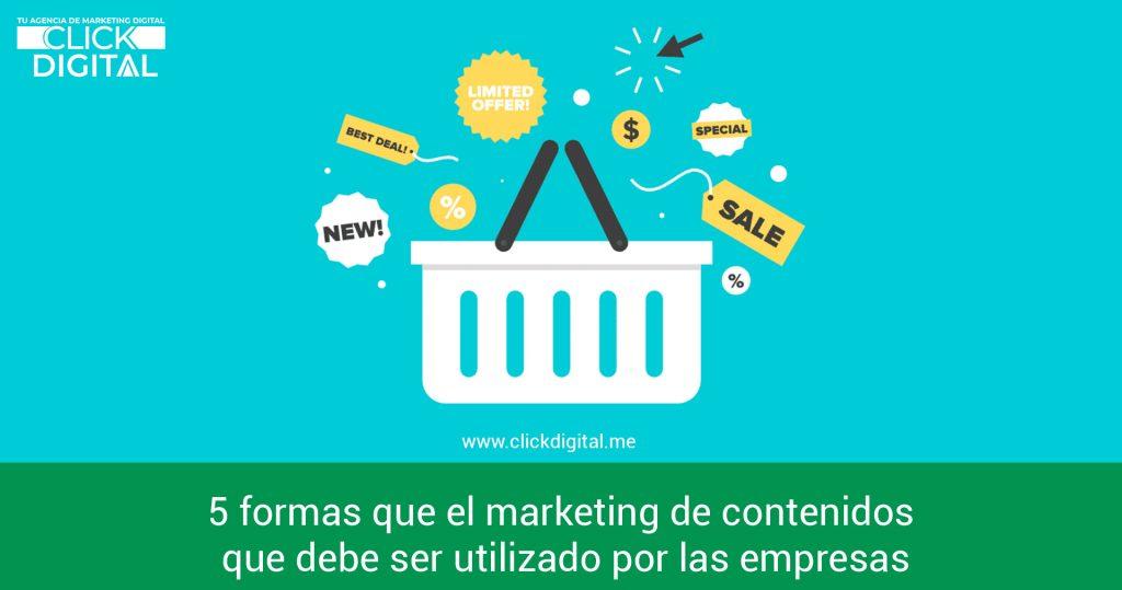 5 formas que el marketing de contenidos que debe ser utilizado por las empresas